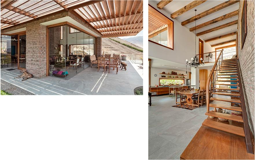 Terraza y espacio interior de madera y ladrillos