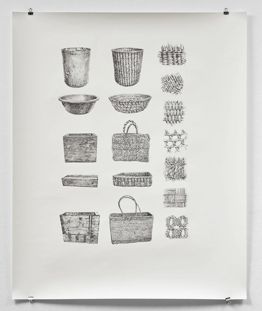 Ilustración en blanco y negro de canastas de junco. Black and white illustration of reed baskets.